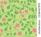 green leaves with red flowers... | Shutterstock . vector #1338465593