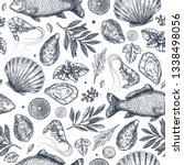 seafood restaurant seamless... | Shutterstock . vector #1338498056