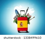 large suitcase with spanish... | Shutterstock . vector #1338499610