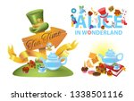 Stock vector alice in wonderland characters collection the inscription alice in wonderland sweets and 1338501116