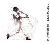 baseball player swinging with... | Shutterstock .eps vector #1338501899