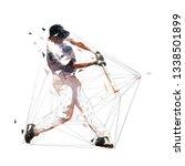 baseball player swinging with... | Shutterstock .eps vector #1338501899