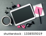 digital tablet computer and cup ... | Shutterstock . vector #1338505019