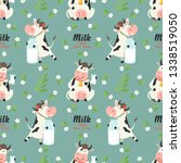 seamless pattern with farm cows ... | Shutterstock .eps vector #1338519050