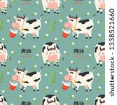 seamless pattern with farm cows ... | Shutterstock .eps vector #1338521660