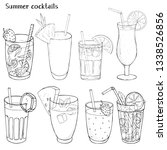 set of refreshing summer drinks.... | Shutterstock .eps vector #1338526856
