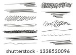 hand drawn underlines on white. ... | Shutterstock . vector #1338530096