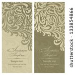 Wedding invitation cards baroque style green and beige. Vintage Pattern. Damascus style ornament. Frame with flowers elements. Vector illustration.