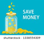 money jar. saving dollar coin... | Shutterstock .eps vector #1338554309