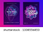 Stock vector trance event trendy concert invitation set dynamic gradient shape and line neon trance event 1338556853