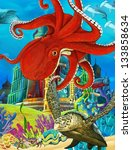 The underwater castle - princess series - illustration for the children - stock photo