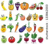cartoon vegetables and fruits | Shutterstock .eps vector #133862003