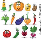 cartoon vegetables and fruits | Shutterstock .eps vector #133862009