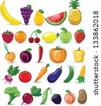cartoon vegetables and fruits | Shutterstock .eps vector #133862018