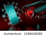 big cctv focusing on a... | Shutterstock . vector #1338628280