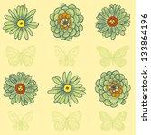 vector flowers pattern | Shutterstock .eps vector #133864196