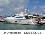 luxury white motor yacht moored ... | Shutterstock . vector #1338642776
