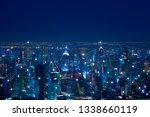 the abstract image of wireless... | Shutterstock . vector #1338660119