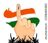 vote with hand of india election | Shutterstock .eps vector #1338684383