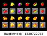 fruits slots icon set on stone...