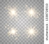 gold glowing light set explodes ... | Shutterstock .eps vector #1338728510