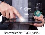 business man using a touch... | Shutterstock . vector #133873460