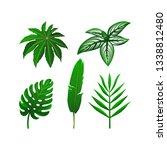 set of tropical green leaves....   Shutterstock .eps vector #1338812480