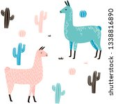 llama seamless pattern with... | Shutterstock .eps vector #1338816890