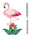 tropical flamingo cartoon | Shutterstock .eps vector #1338828890