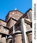 Travel to Italy - view of Duomo di Pavia (Cathedral of Pavia, Cattedrale di Santo Stefano Martire e Santa Maria Assunta) from street Via dei Liguri in Pavia city in morning