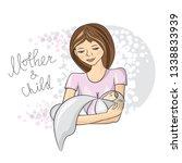 mother holds newborn baby in... | Shutterstock .eps vector #1338833939