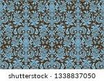 seamless damask pattern. blue...   Shutterstock . vector #1338837050