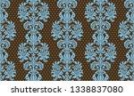 seamless damask pattern. blue...   Shutterstock . vector #1338837080
