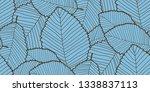 seamless leafs pattern. blue...   Shutterstock . vector #1338837113