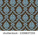 seamless damask pattern. blue... | Shutterstock . vector #1338837233