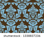 seamless damask pattern. blue... | Shutterstock . vector #1338837236