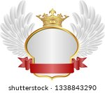 golden frame with crown and... | Shutterstock .eps vector #1338843290