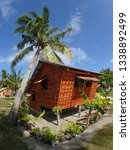 bamboo hut with palm tree ... | Shutterstock . vector #1338892499