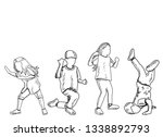 contour children dance | Shutterstock .eps vector #1338892793