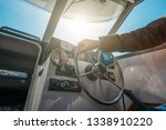 boat or yacht captain hand on... | Shutterstock . vector #1338910220
