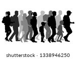 silhouette people on a walk. | Shutterstock .eps vector #1338946250