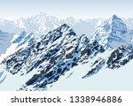vector rocky mountains landscape | Shutterstock .eps vector #1338946886