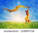 3d woman jumping on a grass... | Shutterstock . vector #133894718