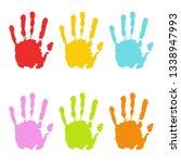 hand print. set of multicolored ...   Shutterstock .eps vector #1338947993
