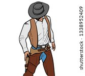 man with cowboy hat and gun.... | Shutterstock .eps vector #1338952409