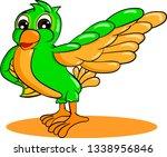 green cartoon bird pulled... | Shutterstock .eps vector #1338956846