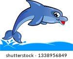 cartoon blue dolphin jumping... | Shutterstock .eps vector #1338956849
