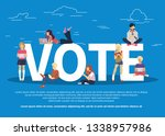 vote concept. people sitting on ... | Shutterstock .eps vector #1338957986