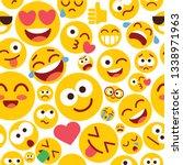 emoji seamless pattern on a... | Shutterstock .eps vector #1338971963
