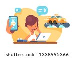 online mobile city taxi... | Shutterstock .eps vector #1338995366